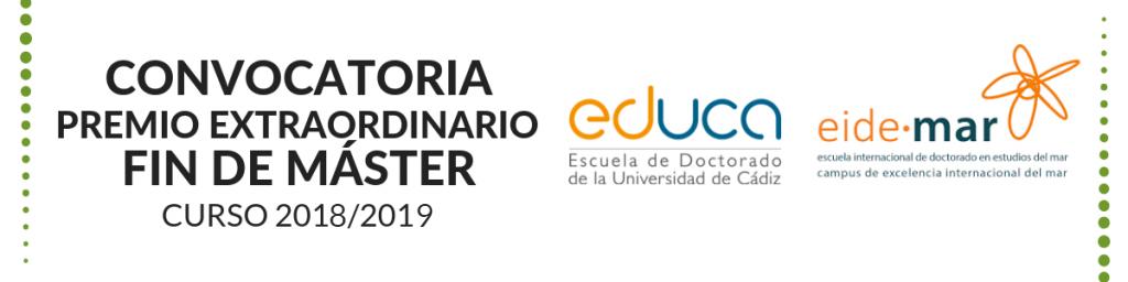 Convocatoria de Premio Extraordinario Fin de Máster correspondientes al curso académico 2018/2019